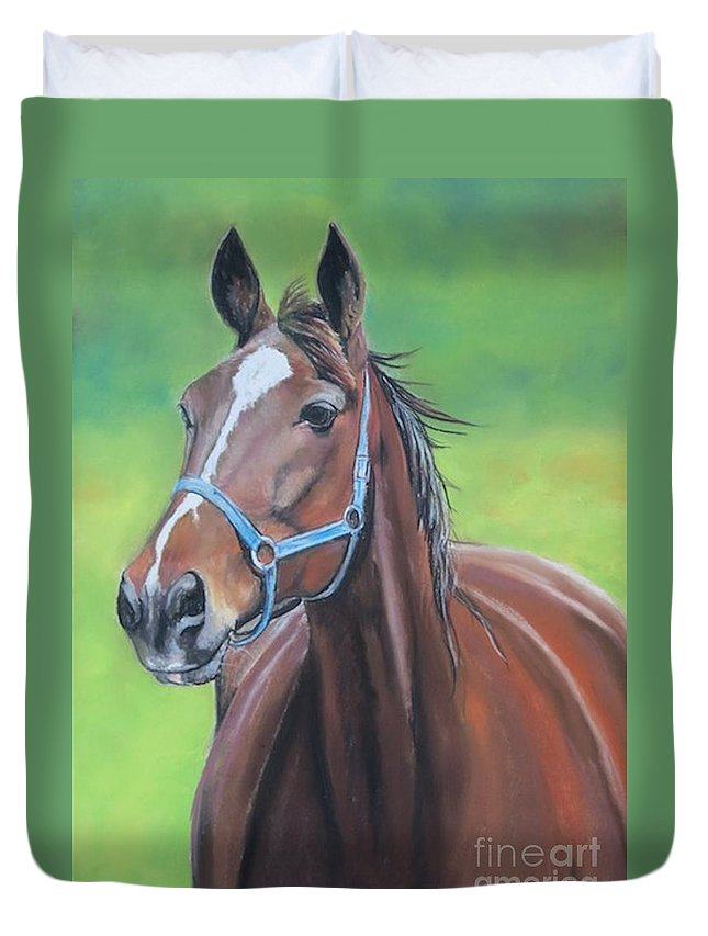 Horse Duvet Cover featuring the painting Hanover Shoe Farm Horse by Charlotte Yealey