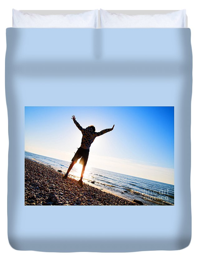 Beach Duvet Cover featuring the photograph Happiness In The Beach Scenery by Michal Bednarek