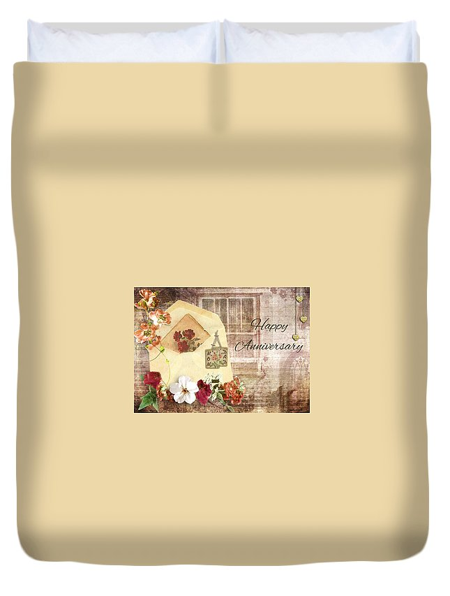 Cherish Duvet Cover featuring the mixed media Happy Anniversary Mom And Dad by Paula Ayers