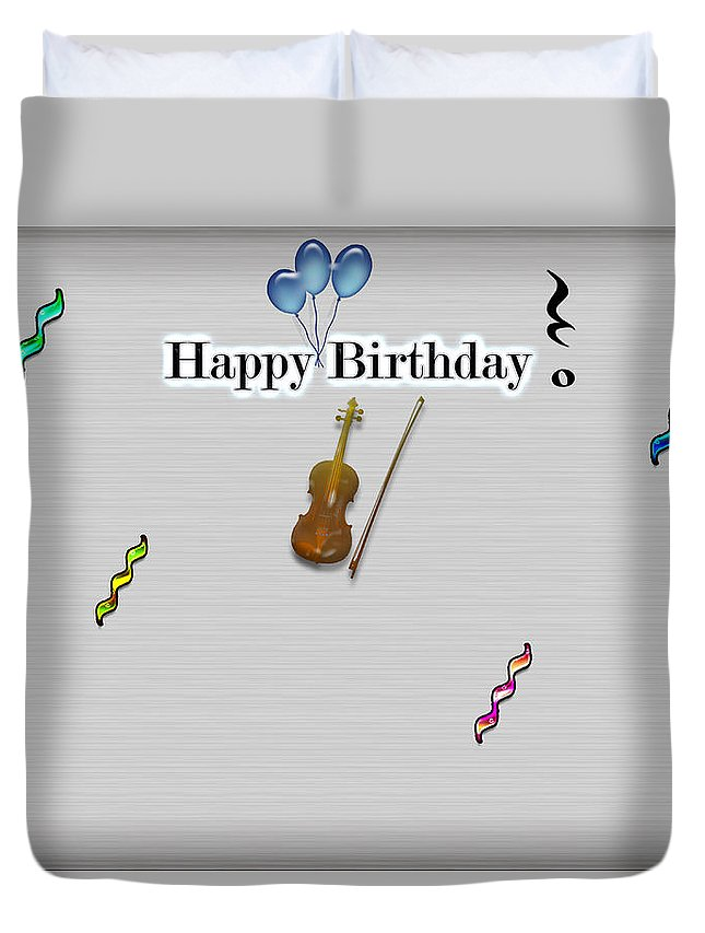 Happy Birthday Card- Violin Duvet Cover