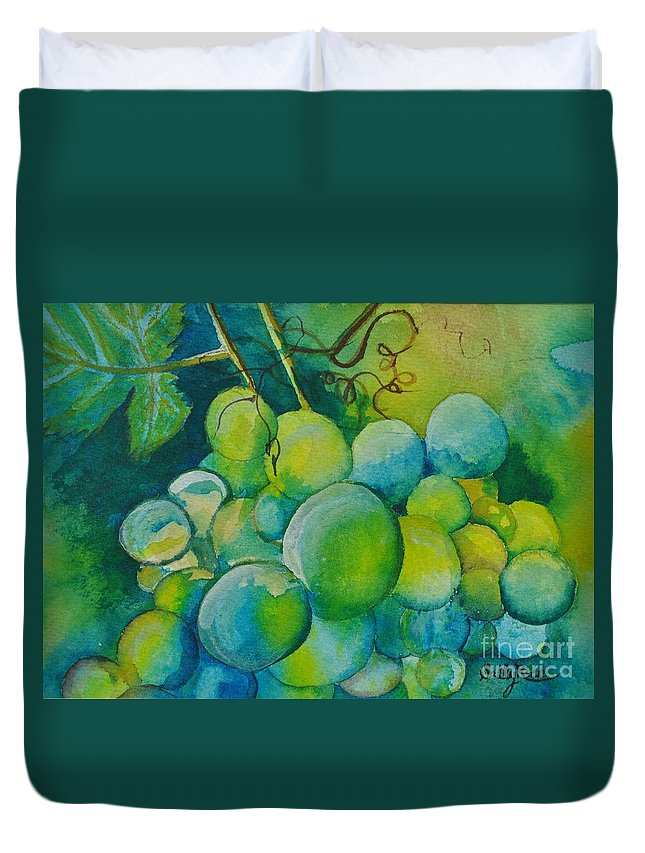 Grapes Duvet Cover featuring the painting Happy Bunch by Sally Rice
