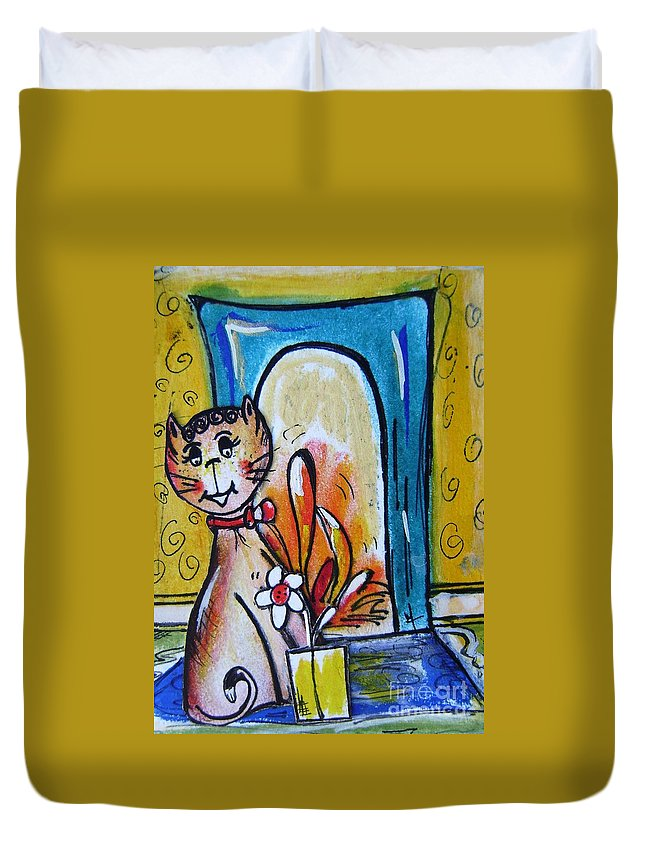 Cat Duvet Cover featuring the painting Happy Cat by Mary Cahalan Lee- aka PIXI