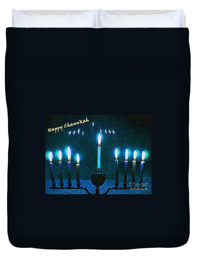 Menorah Duvet Cover featuring the photograph Happy Chanukah by Nina Silver