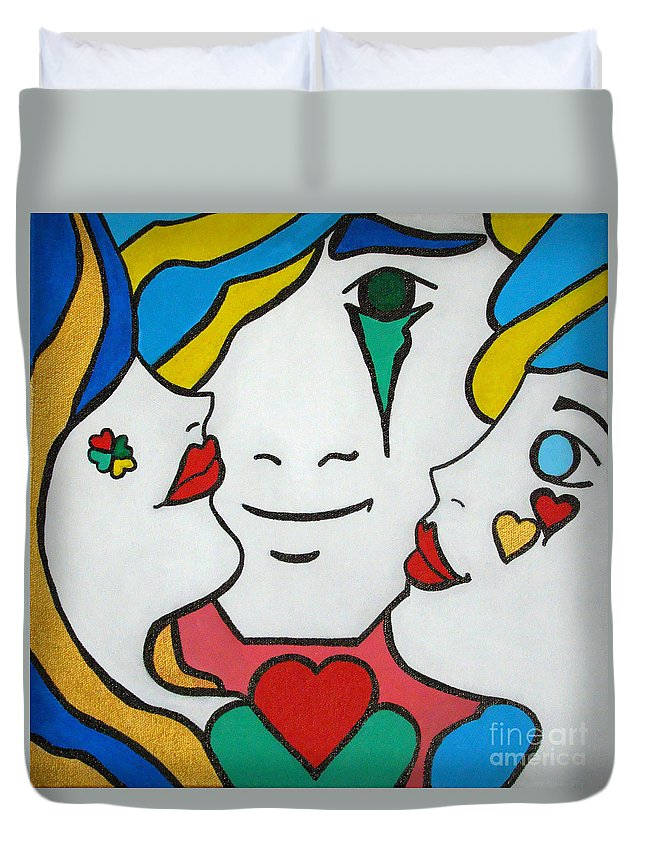 Pop-art Duvet Cover featuring the painting Happy Days by Silvana Abel