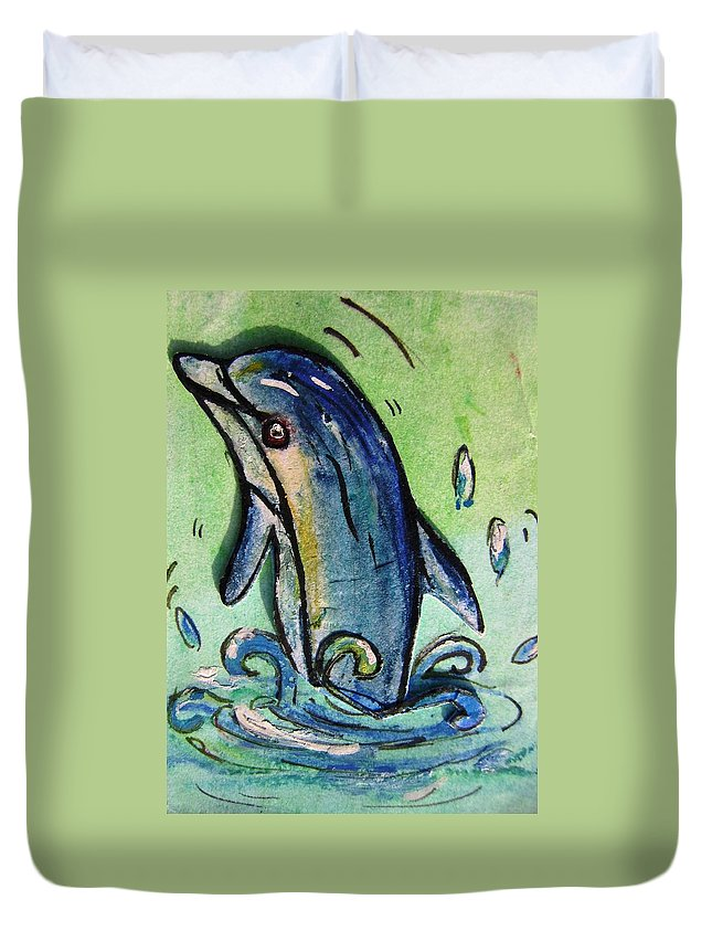 Dolphin Duvet Cover featuring the painting Happy Dolphin by Mary Cahalan Lee- aka PIXI