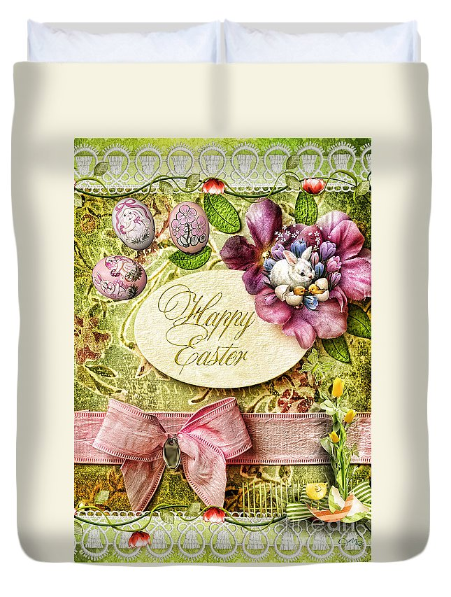 Happy Easter Duvet Cover featuring the digital art Happy Easter 2 by Mo T