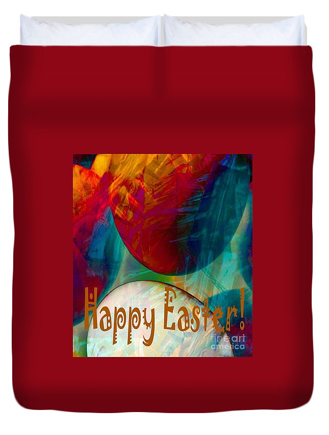 Happy Easter Greeting Card Duvet Cover featuring the photograph Happy Easter Greeting Card by Barbara Griffin
