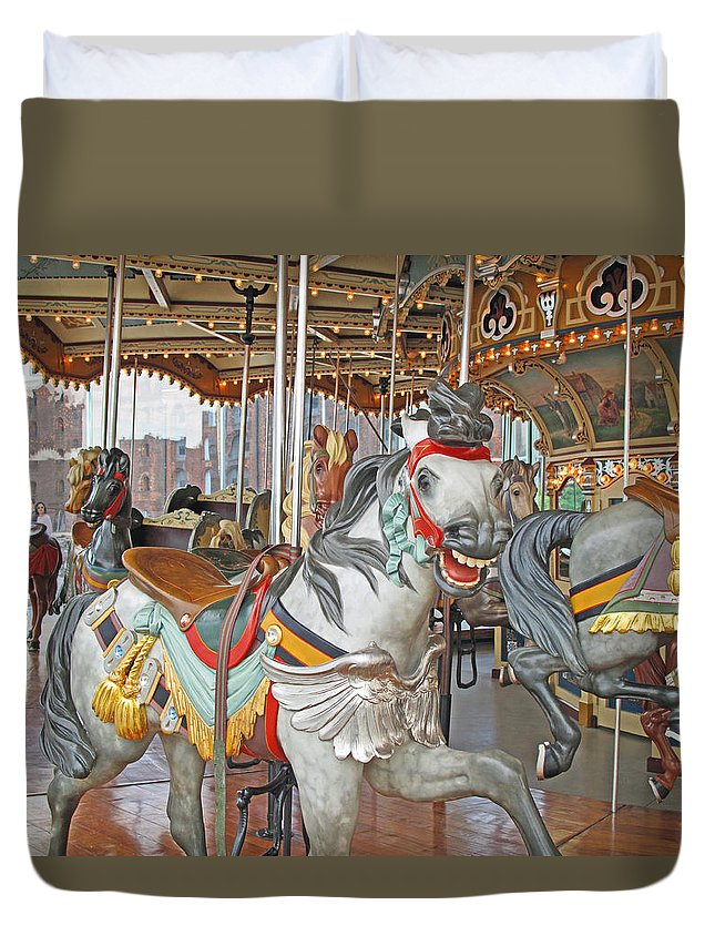 Carousel Duvet Cover featuring the photograph Happy Grey Pony by Barbara McDevitt