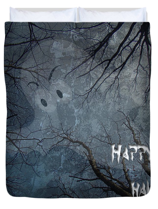 Halloween Duvet Cover featuring the photograph Happy Halloween - Ghost In Trees by Mother Nature