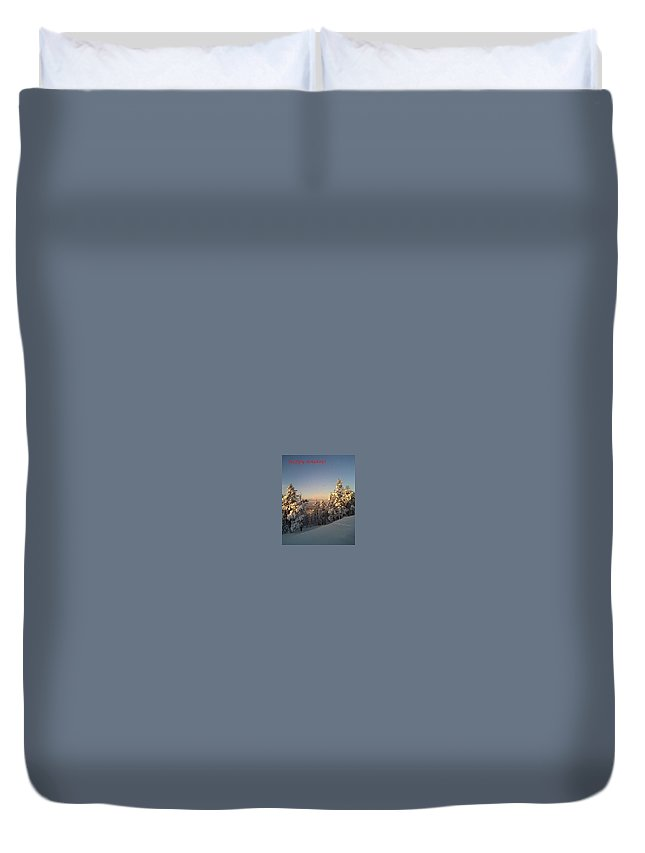 Winter Duvet Cover featuring the photograph Happy Holidays In Deep Snow by Hilde Widerberg