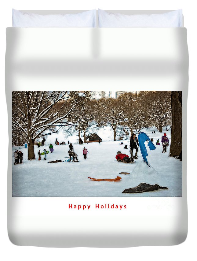 Holiday Card Duvet Cover featuring the photograph Happy Holidays by Madeline Ellis
