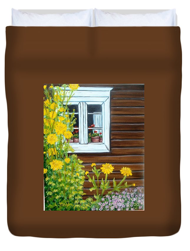 Window Duvet Cover featuring the painting Happy Homestead by Laurie Morgan