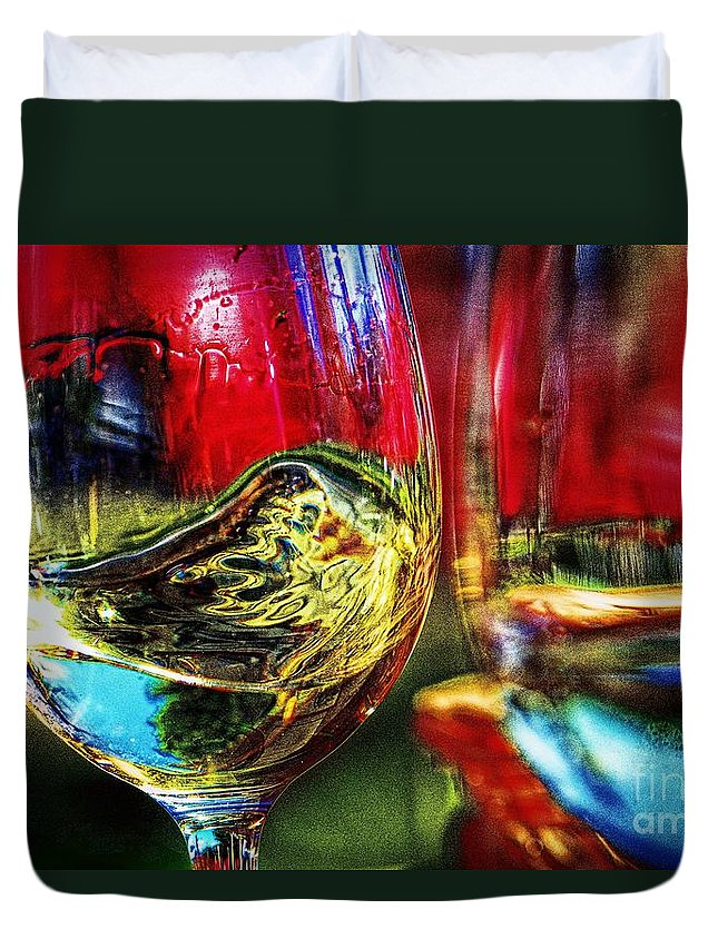 Two For One Duvet Cover featuring the digital art Happy Hour 2 For 1 by Davids Digits