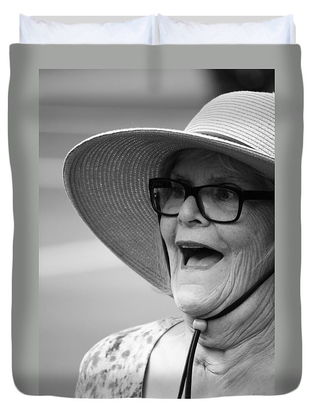 Pride Festival Duvet Cover featuring the photograph Happy Lady by The Artist Project