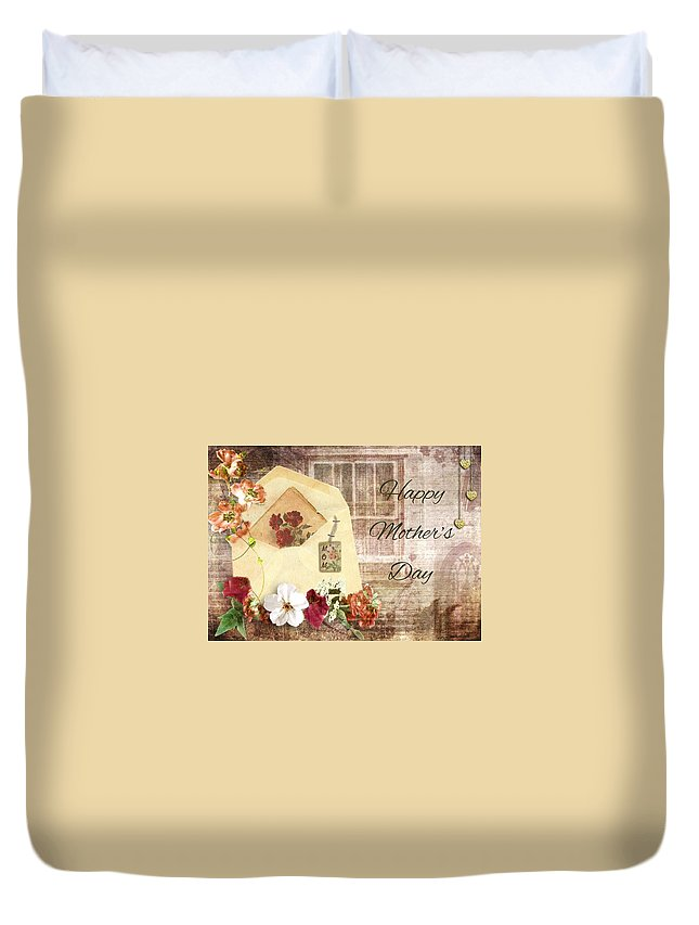 Wedding Duvet Cover featuring the mixed media Happy Mother's Day by Paula Ayers