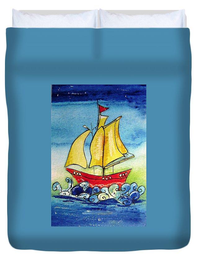 Ship Duvet Cover featuring the mixed media Happy Sailing Ship by Mary Cahalan Lee- aka PIXI