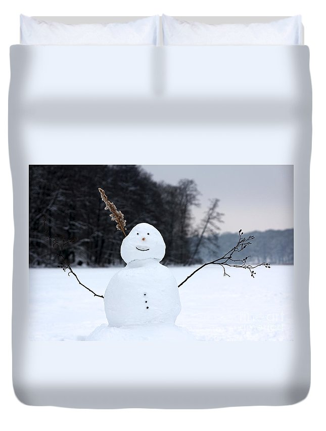 Berlin Duvet Cover featuring the photograph Happy Snowman by Jannis Werner