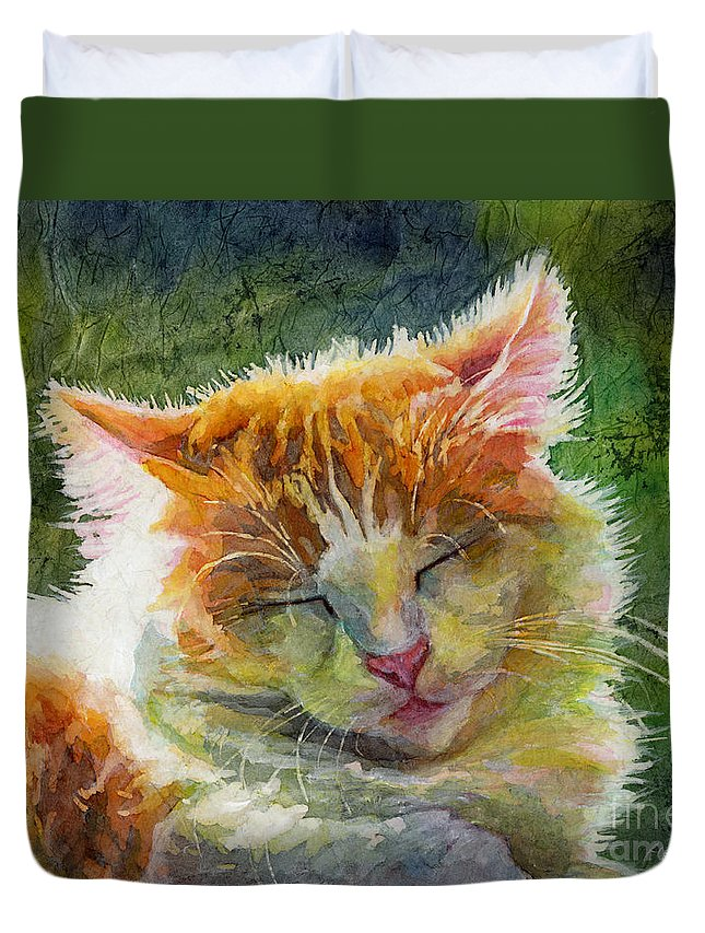Cat Duvet Cover featuring the painting Happy Sunbathing 2 by Hailey E Herrera