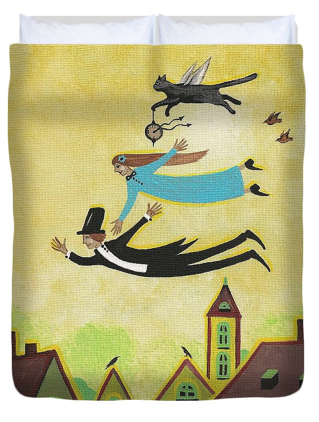 Print Duvet Cover featuring the painting Happy Time by Margaryta Yermolayeva