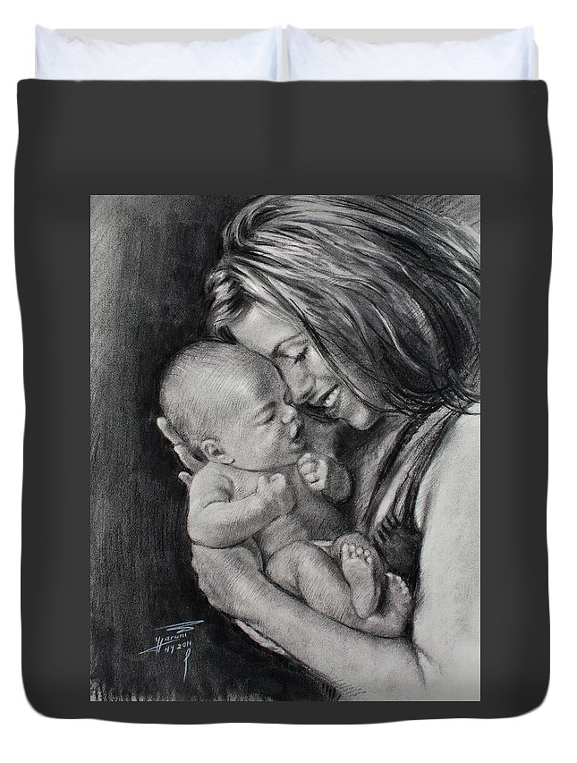 Happy Young Mother Duvet Cover featuring the drawing Happy Young Mother by Ylli Haruni