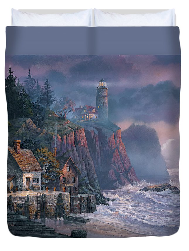 Michael Humphries Duvet Cover featuring the painting Harbor Light Hideaway by Michael Humphries
