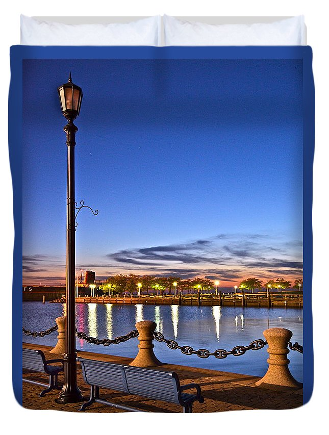 Harbor Duvet Cover featuring the photograph Harbor Lights by Frozen in Time Fine Art Photography