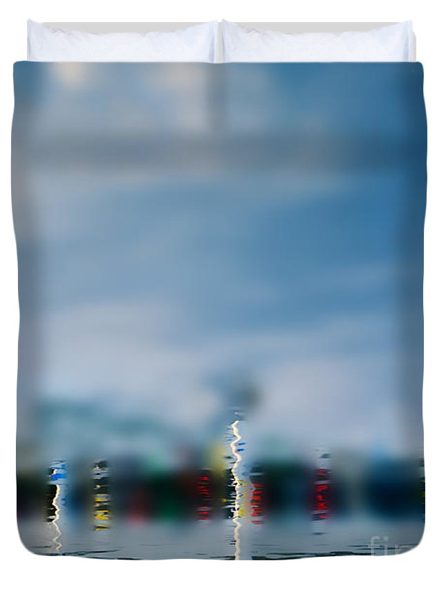 Boat Duvet Cover featuring the photograph Harbor Reflections by Michael Arend