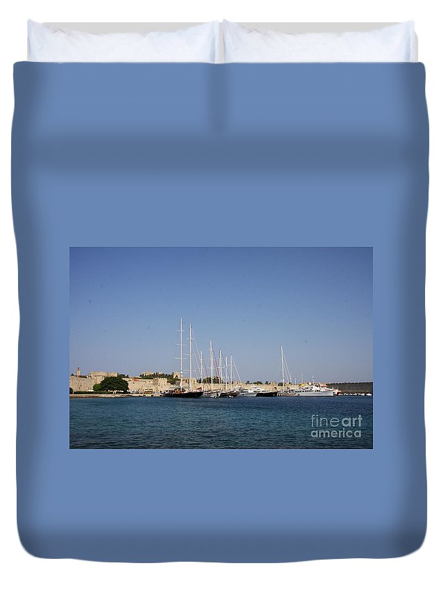 Harbor Duvet Cover featuring the photograph Harbor Rhodos City by Christiane Schulze Art And Photography