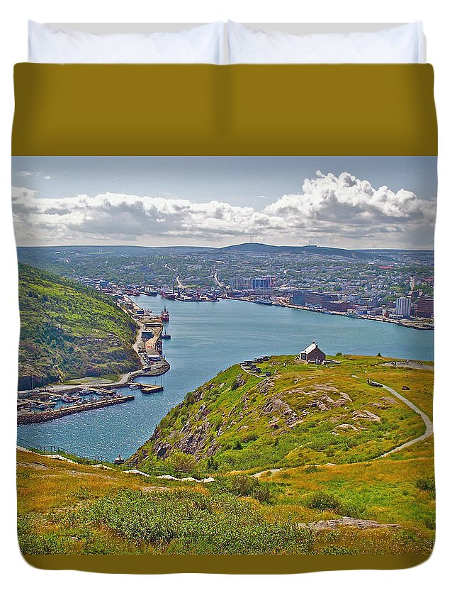 Harbour View From Signal Hill National Historic Site In Saint John's Duvet Cover featuring the photograph Harbour View From Signal Hill National Historic Site In Saint John's-nl by Ruth Hager