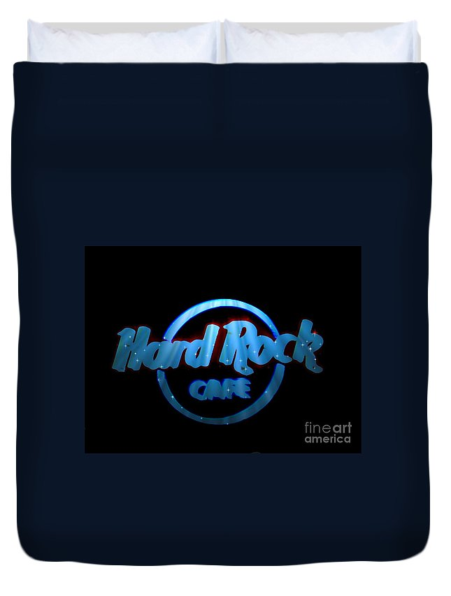 Duvet Cover featuring the photograph Hard Rock Neon In Space by Kelly Awad