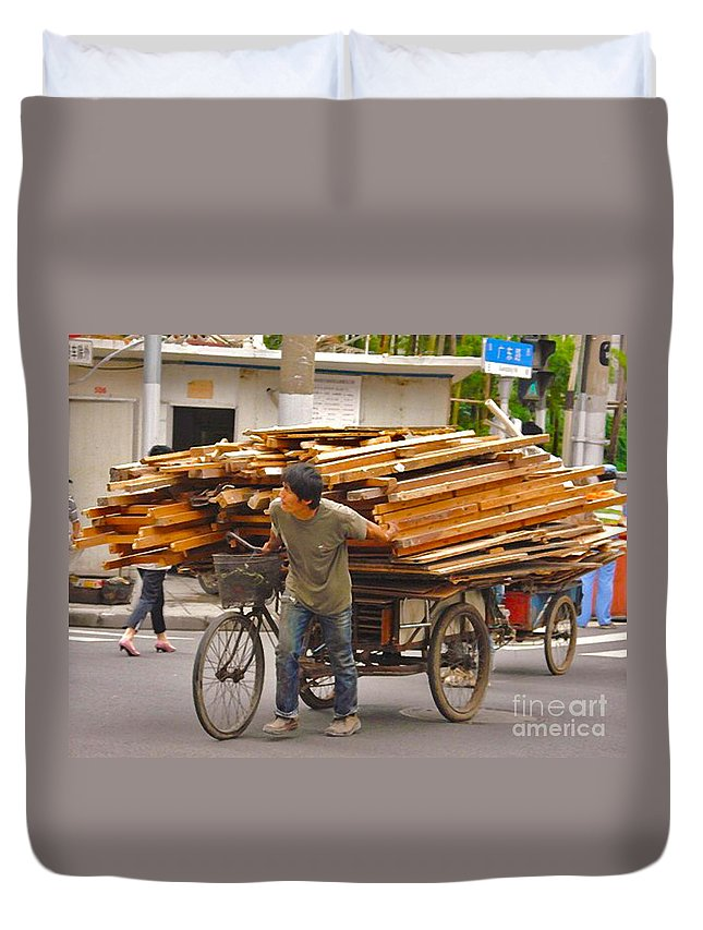 Shanghai Duvet Cover featuring the photograph Hard Work by Christine Dekkers