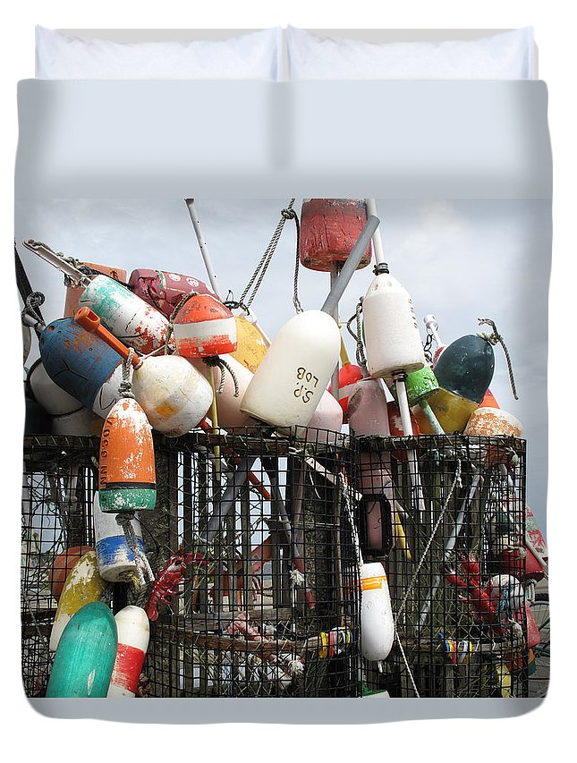 Buoys Duvet Cover featuring the photograph Hard Working Buoys by Barbara McDevitt
