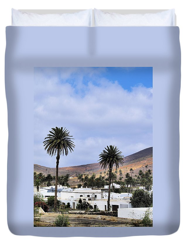 Lanzarote Duvet Cover featuring the photograph Haria On Lanzarote by Karol Kozlowski
