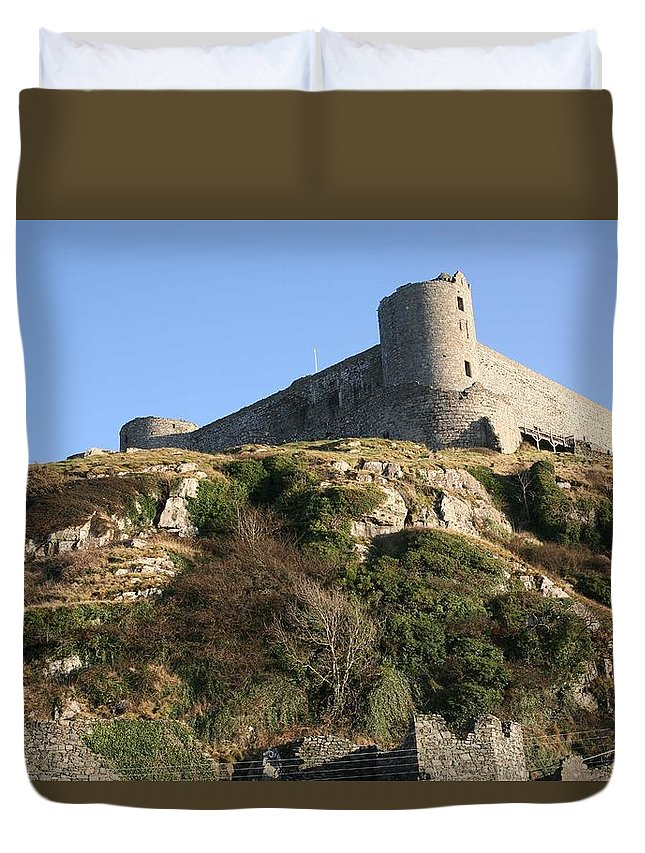 Castles Duvet Cover featuring the photograph Harlech Castle by Christopher Rowlands