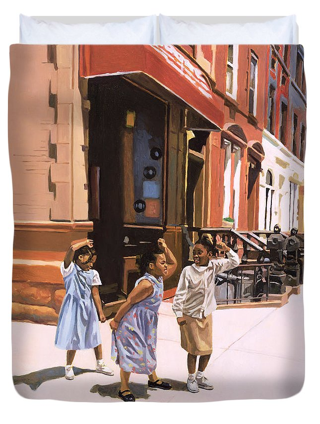Children Duvet Cover featuring the painting Harlem Jig by Colin Bootman