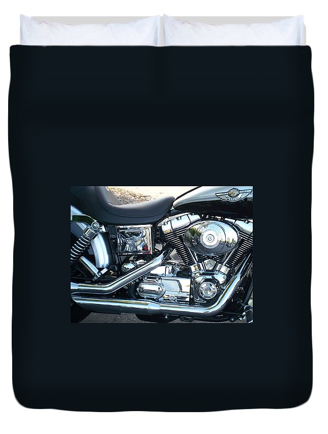 Motorcycles Duvet Cover featuring the photograph Harley Black And Silver Sideview by Anita Burgermeister