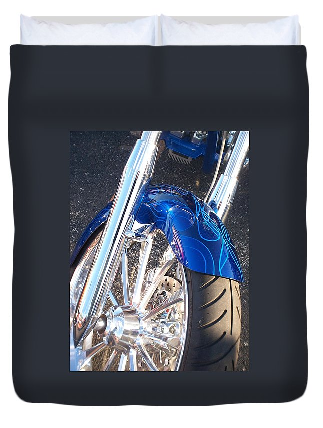 Motorcycles Duvet Cover featuring the photograph Harley Close-up Blue Flame by Anita Burgermeister