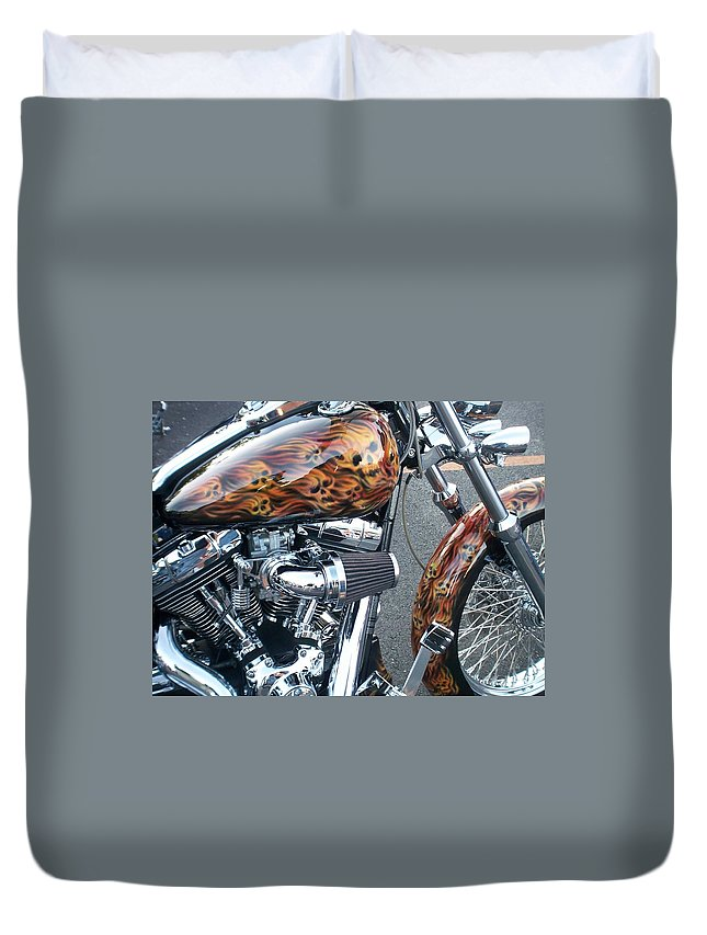 Motorcycles Duvet Cover featuring the photograph Harley Close-up Skull Flame by Anita Burgermeister