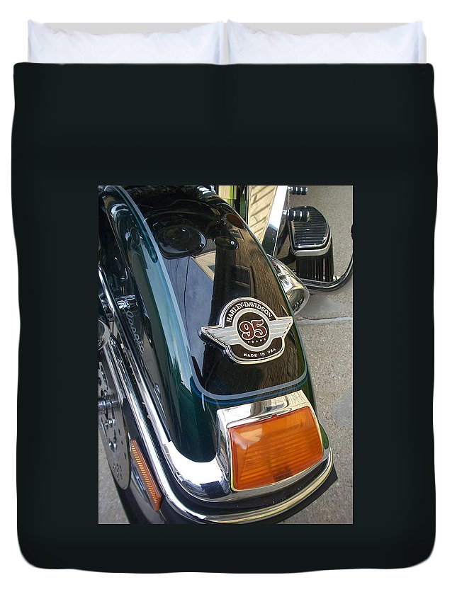 Motorcycles Duvet Cover featuring the photograph Harley Close-up Tail Light by Anita Burgermeister