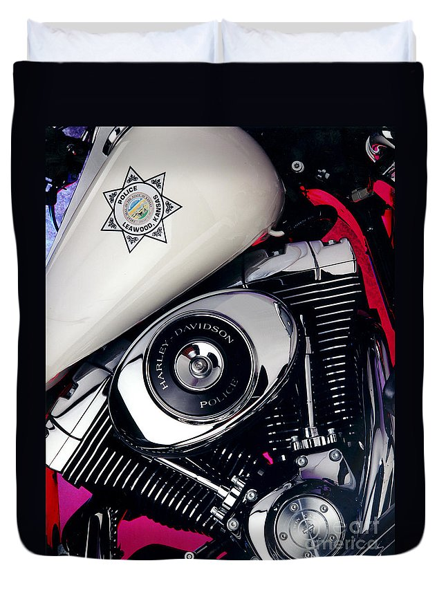 Harley Duvet Cover featuring the photograph Harley Cop 2 by Gary Gingrich Galleries