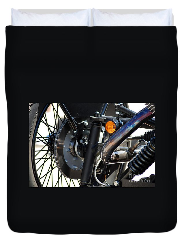 Harley Duvet Cover featuring the photograph Harley Cycle by Optical Playground By MP Ray