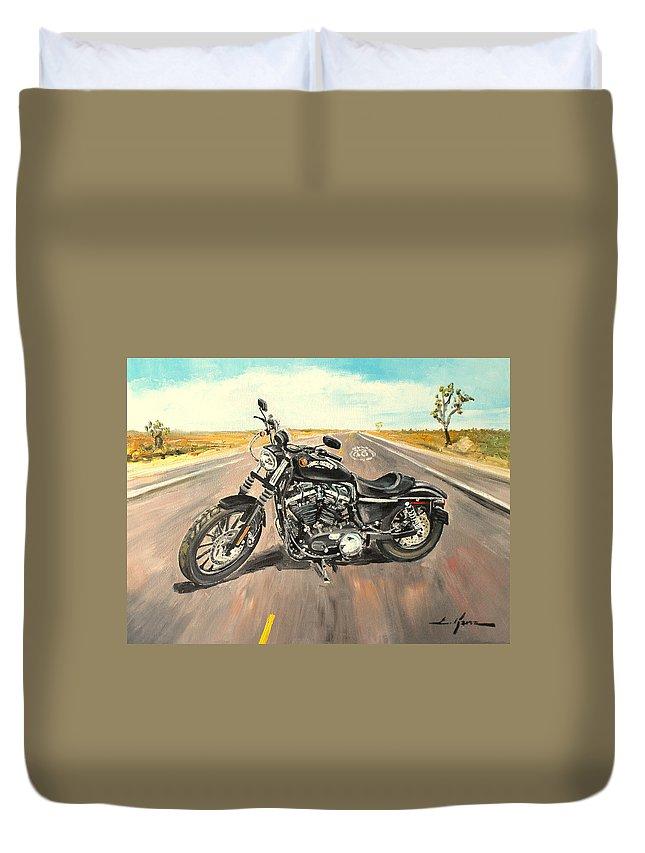 Harley Davidson Duvet Cover featuring the painting Harley Davidson 883 Sportster by Luke Karcz