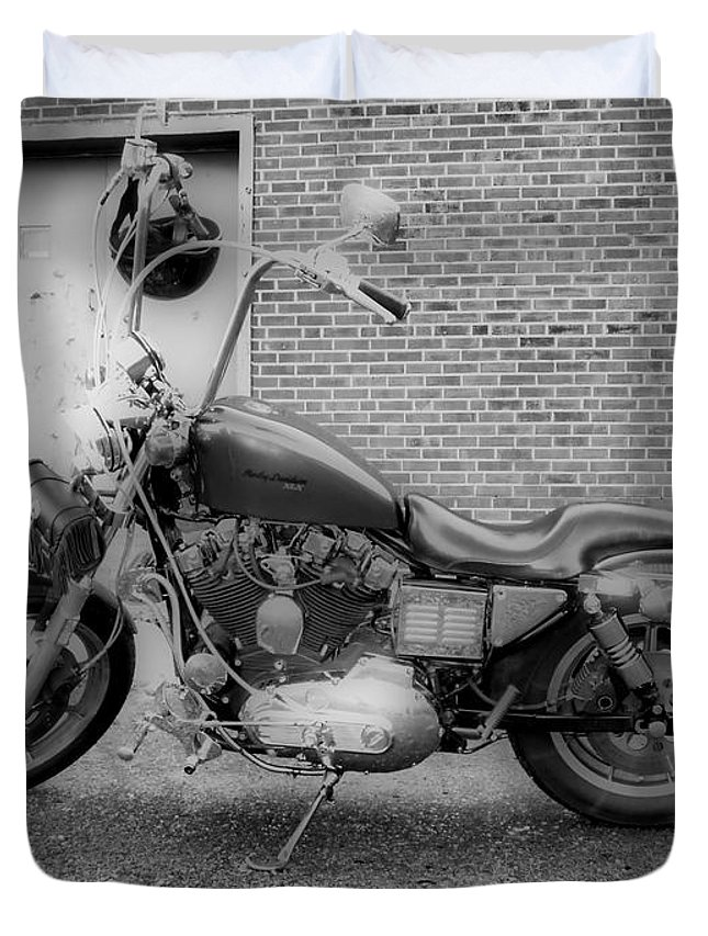 Hdr Duvet Cover featuring the photograph Harley In Black And White by Thomas MacPherson Jr