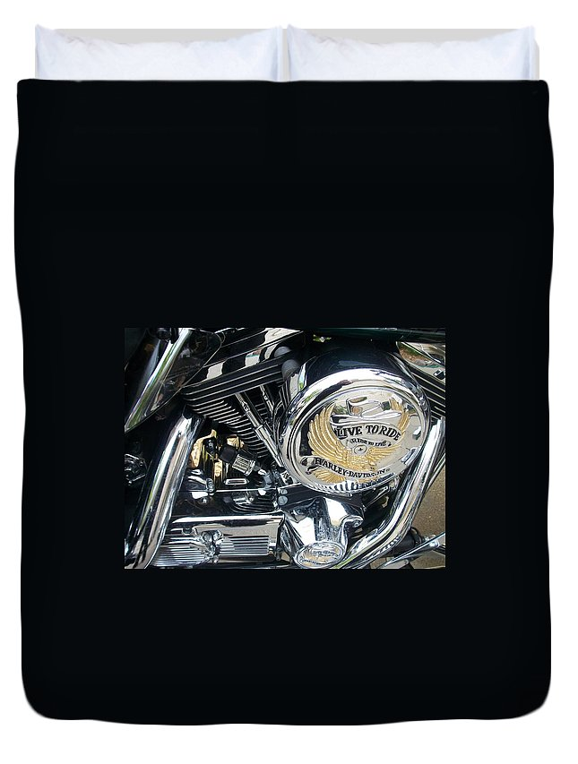 Motorcycles Duvet Cover featuring the photograph Harley Live To Ride by Anita Burgermeister