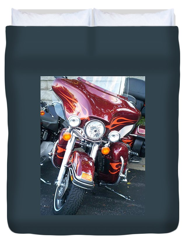 Motorcycles Duvet Cover featuring the photograph Harley Red W Orange Flames by Anita Burgermeister