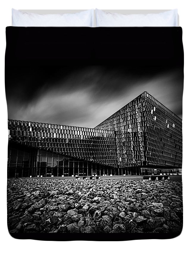 Harpa Duvet Cover featuring the photograph Harpa by Ian Good