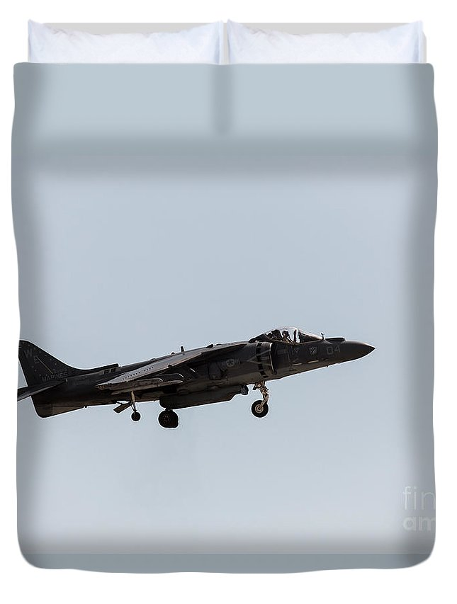 Harrier Duvet Cover featuring the photograph Harrier Landing Config by John Daly