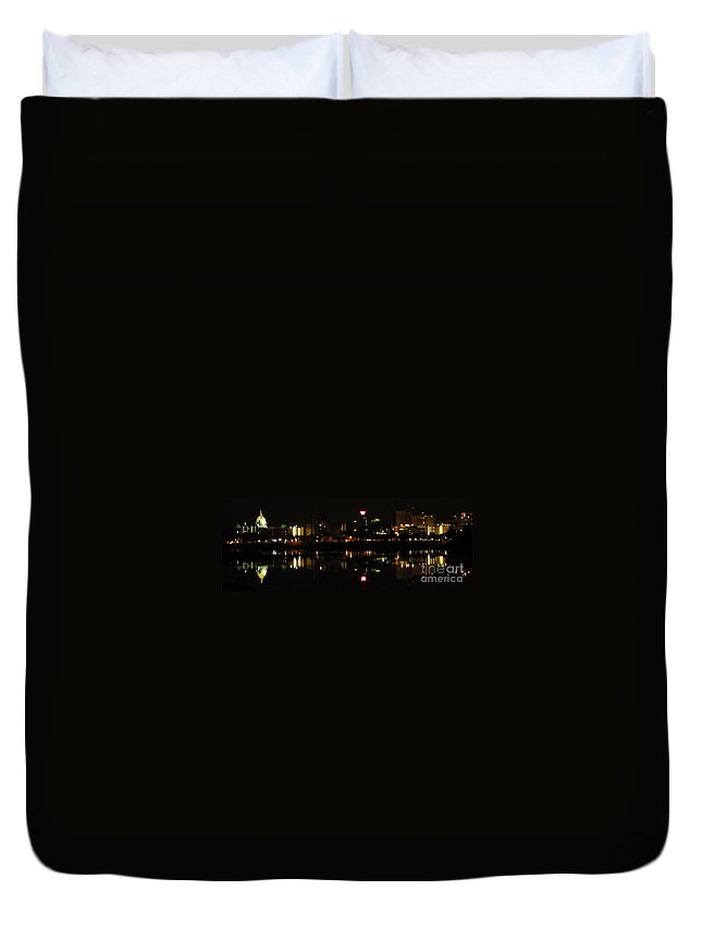 City Nightscape Images City Lights Prints Symmetrical Reflections Harrisburg Pennsylvania Night Lights Prints Cityscape Prints Nightlife Nocturnal City Skyline Panorama Duvet Cover featuring the photograph Harrisburg Night Lights by Joshua Bales