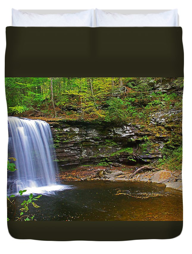 Pa Duvet Cover featuring the photograph Harrison Wright Falls And Pool by Rich Walter