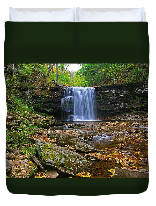Pa Duvet Cover featuring the photograph Harrison Wright Falls In Early Fall by Rich Walter